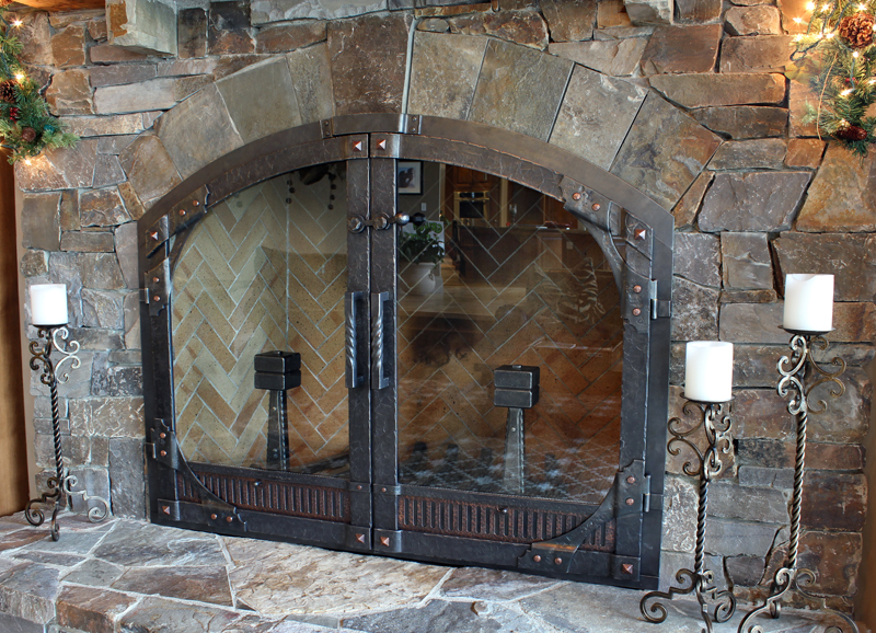 Custom Wrought Iron Fireplace Door Gallery Ponderosa Forge Ironworks