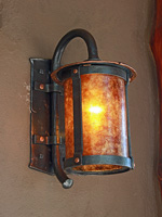 wrought iron carriage lamp with amber mica