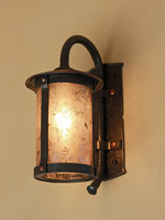 hand forged carriage lamp with copper stained mica