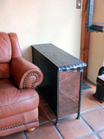 wrought iron end table with hammered copper front