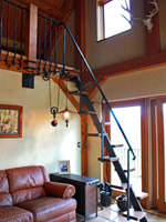 hand forged wrought iron ships ladder with walnut treads