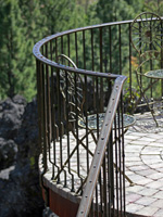 wrought iron curved balcony deck railing