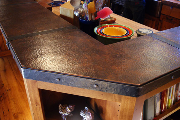 Ordinaire Copper Kitchen Island With Ahnd Forged Iron Banding ...