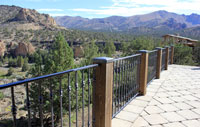 Hand forged wrought iron railing finely crafted by blacksmiths at Ponderos Forge