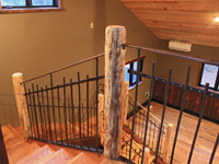 bronze and iron railing with log posts