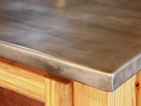 hand formed zinc countertop corner detail